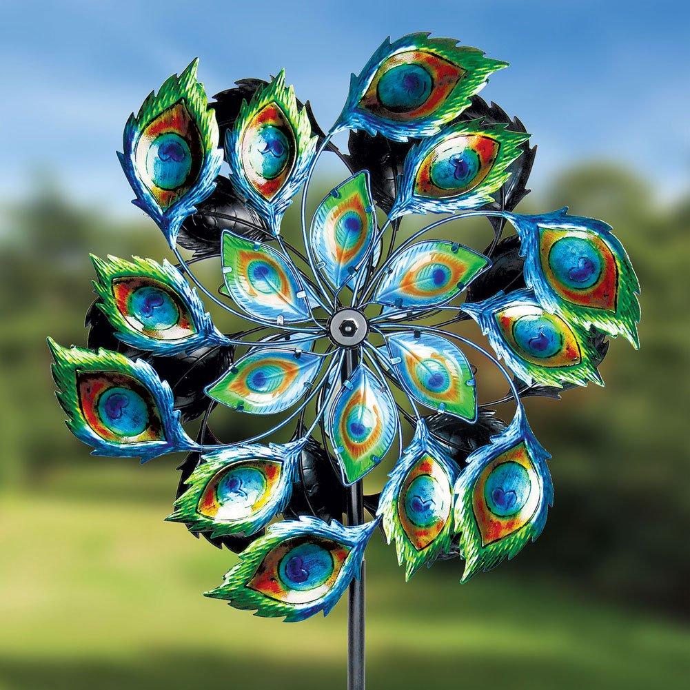Exhart Giant Peacock Spinner Garden Stake