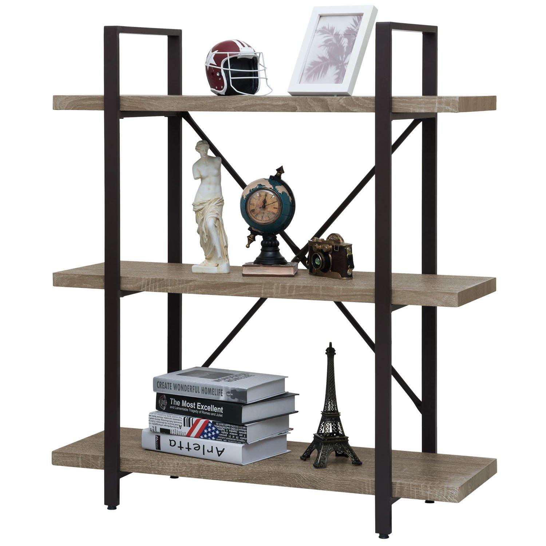 Ollieroo Rustic Vintage Bookcase Industrial Bookshelf, Grain Wood and Metal Shelves Furniture (3 Tier)