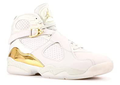 timeless design 3e971 34229 Nike Mens Air Jordan 8 Retro C&C Light Bone/Metallic Gold Leather