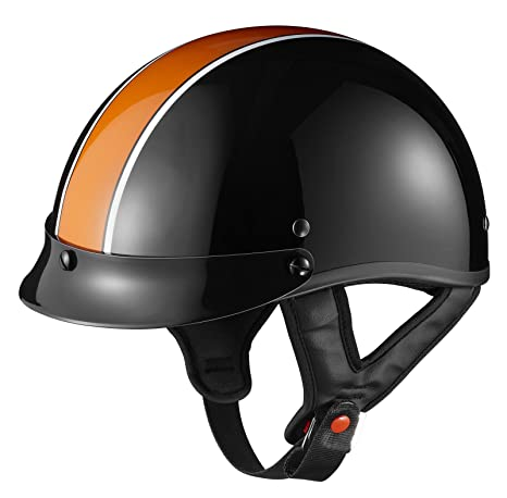 Lg Motorcycle Moped Biker orange Stripe Half Face Helmet Cruiser touring Chopper Harley
