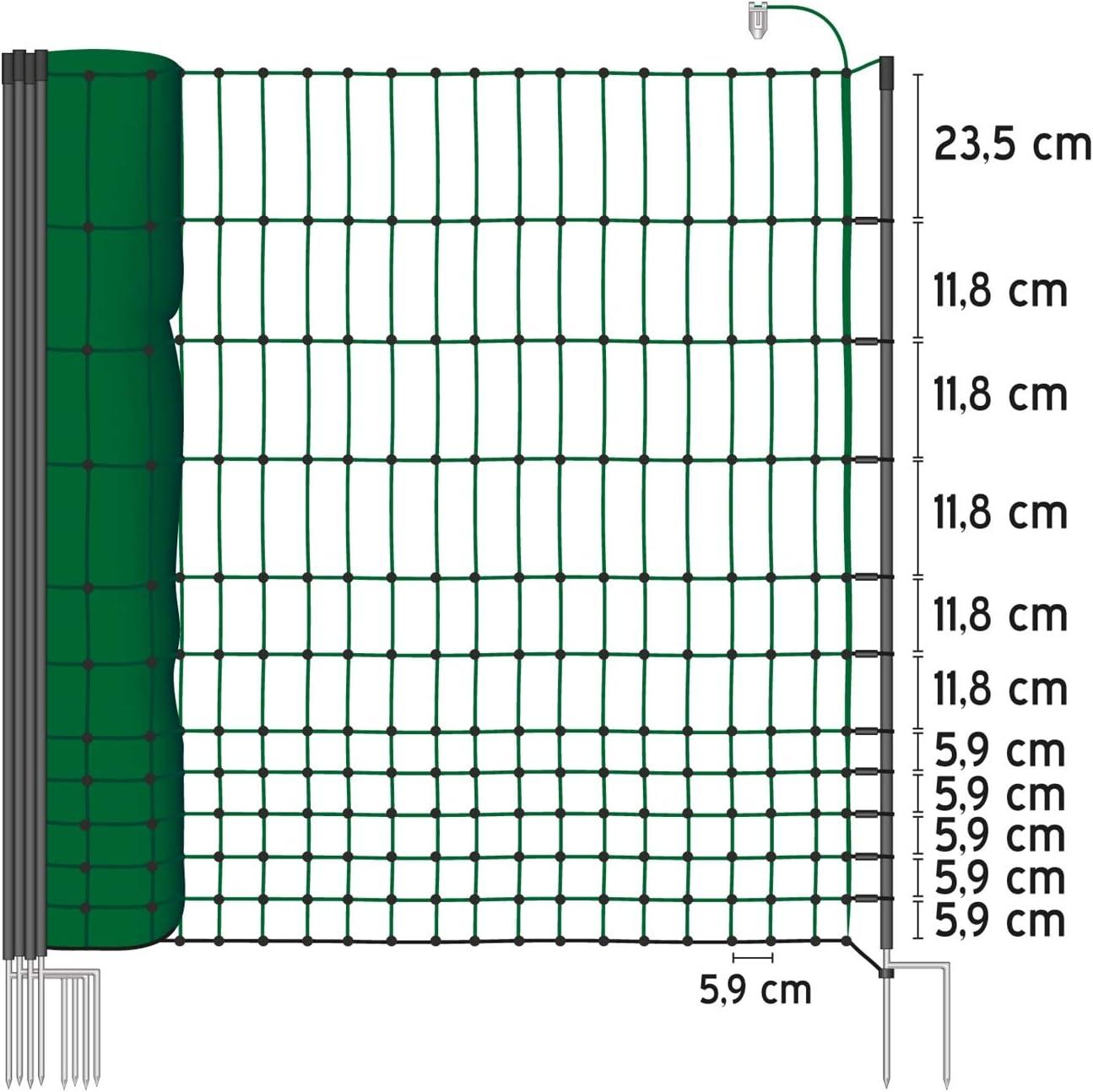 Geflügelzaun Geflügelnetz  Volieren  0,50 m x 15 m  grün  Maschenweite 5 cm