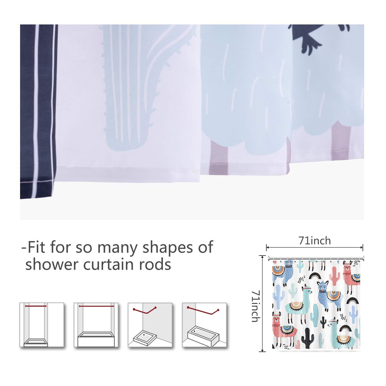 Vibesicily Shower Curtain, Durable Polyester Fabric Waterproof Bath Curtain for Bathroom Home Decor with 12 Hooks 71 x 71 Inch (Cartoon Alpaca, 71\'\'x71\'\')