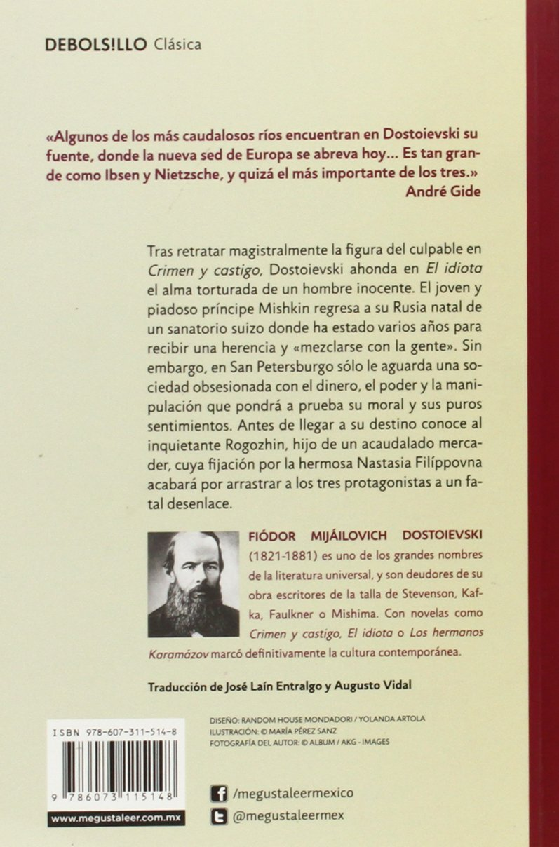 El idiota / The Idiot (Debolsillo Clasica) (Spanish Edition): Fiodor M. Dostoievski: 9786073115148: Amazon.com: Books