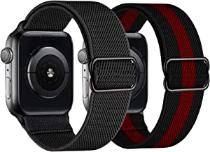 Mangoton Stretchy Nylon Solo Loop Bands Compatible with Apple Watch Band 42mm 44mm, Adjustable Braided Sport Elastics Women Men Strap for iWatch SE Series 6/5/4/3/2/1 (Black/Black and Red, 42/44mm)
