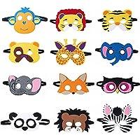 12 Pcs Kids Animal Masks, Forest Friends Animals Cartoon Masks, Jungle Woodland Animals Theme Costume Party Cosplay…