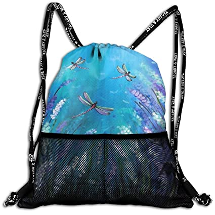 Purple Flowers and Cute Dragonfly Durable Sport Drawstring ...