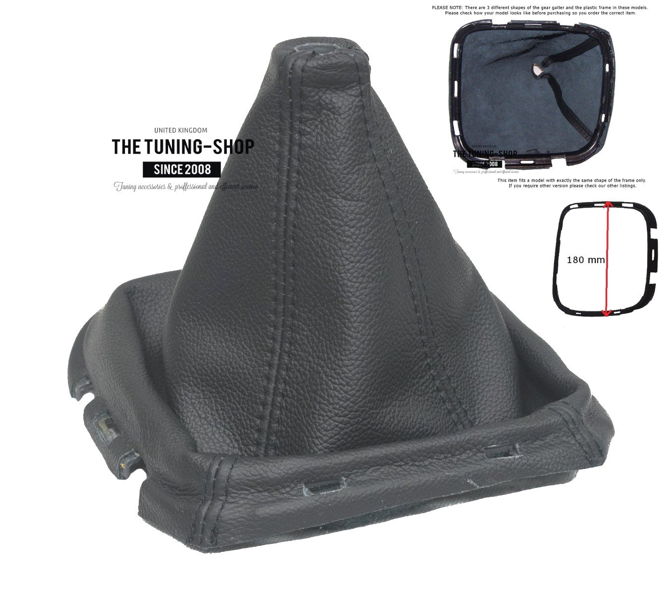 Gear Stick Gaiter with Plastic Frame Black Leather 180mm The Tuning-Shop Ltd