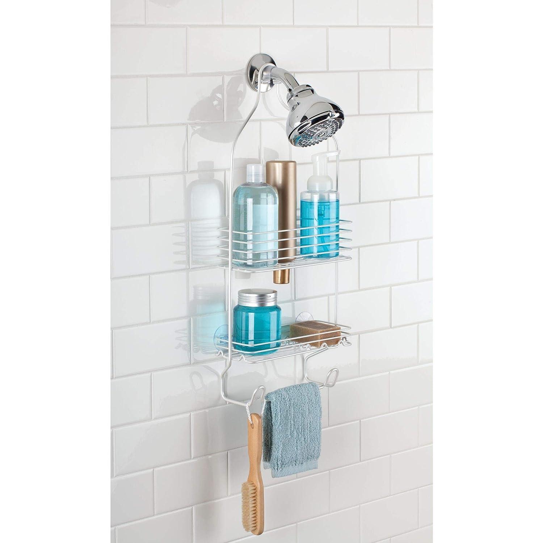 InterDesign Classico colgador ducha con 2 cestas | Perchero baño para colgar en la bañera | Portaobjetos ducha con ventosas | De metal color blanco