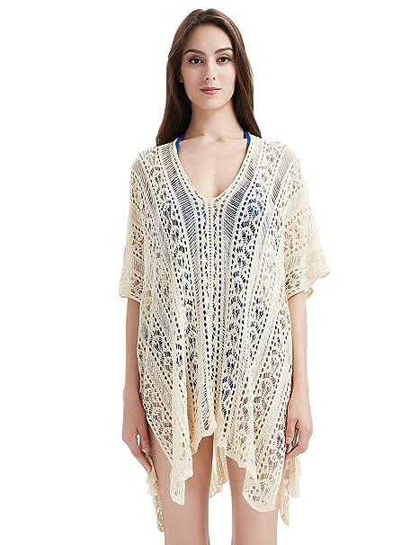 b9a3756c93 Ferand Women's Summer Crochet V Neck Bathing Suit Beach Swimsuit Pool Cover  up Dress, One
