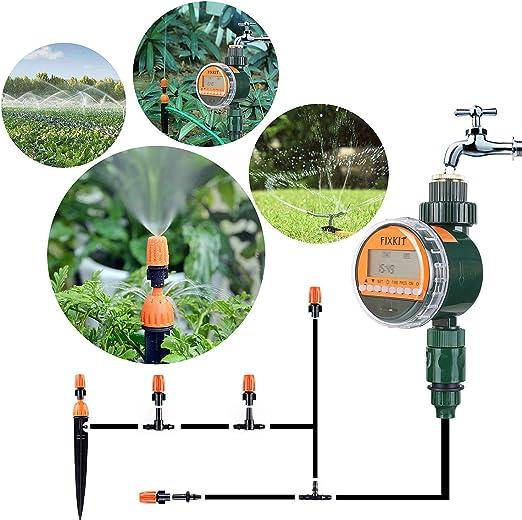 FIXKIT Temporizador de Riego Controlador Inteligente de Riego Temporizador Electrónico de Agua para Irrigación Controlador Digital de Riego Automático con Pantalla LCD: Amazon.es: Jardín