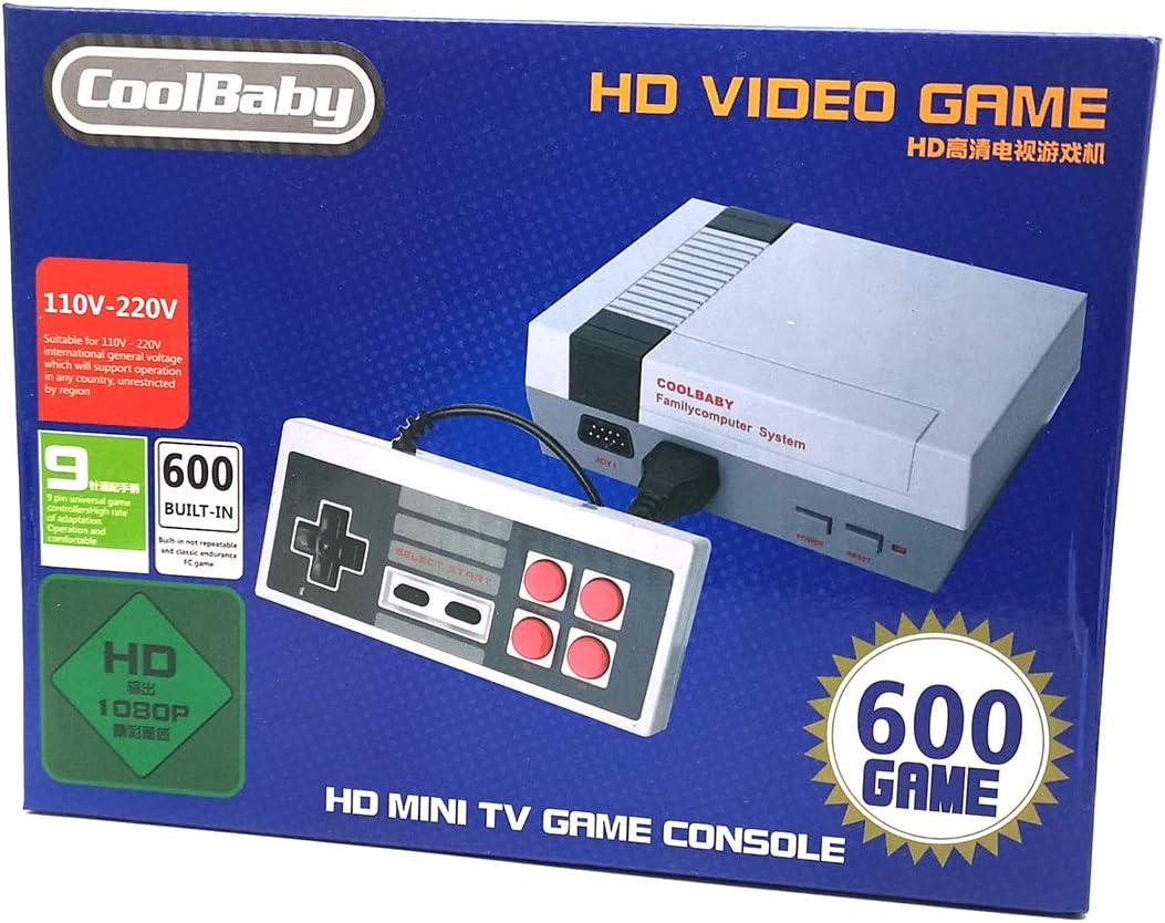 RORA juegos consola mini classic, retro videojuegos Juegos integrados 600 con salida HDMI y dos controladores, 8bit entertainment system
