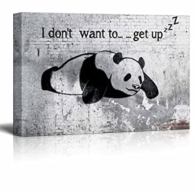 wall26 Canvas Wall Art - Lazy Panda Painting on Shabby Wall - Giclee Print Gallery Wrap Modern Home Decor Ready to Hang - 16  x 24