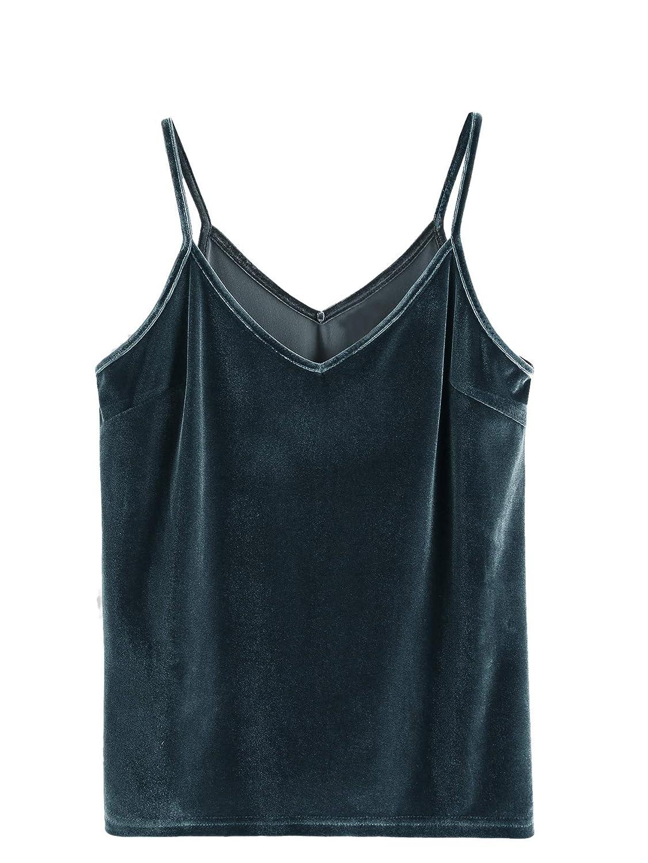 86ede733eb4469 SheIn Women's Casual Basic Strappy Velvet V Neck Cami Tank Top at Amazon Women's  Clothing store: