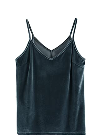 79313b515c2dd SheIn Women's Casual Basic Strappy Velvet V Neck Cami Tank Top X-Small Blue