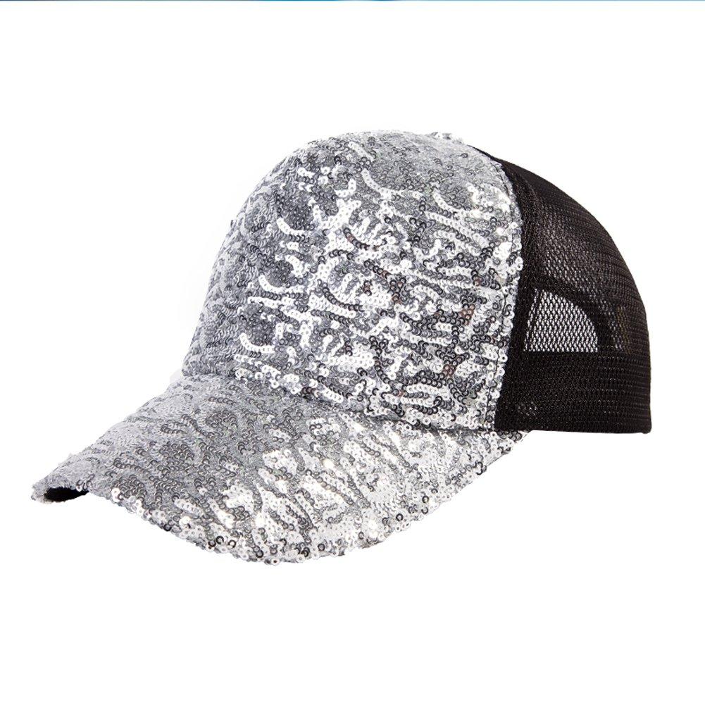 GUO - Hut weibliche Sommerart und weisegezeiten sequined Baseballmütze beiläufige Kappenfrühling und Sommersonnehut Hip-Hophut (Silber)