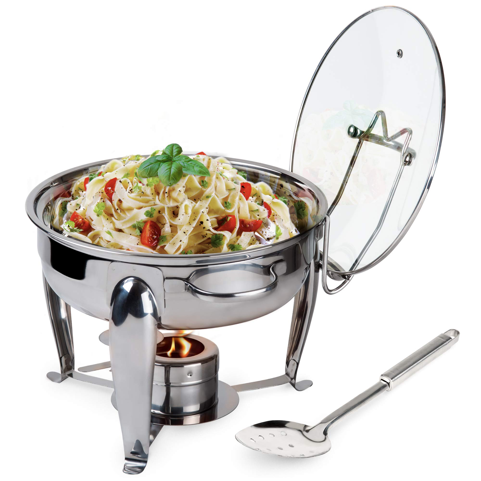 6 Quart Round Stainless Steel Chafing Dish with Bonus Slotted Spoon and Drip Tray for Lid by Traditions