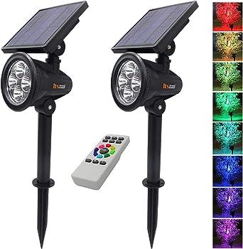Foco Solar colores, Itscool LED Luz Solar Jardín 9 Colores con Control Remoto para Jardín (2 Unidades): Amazon.es: Iluminación