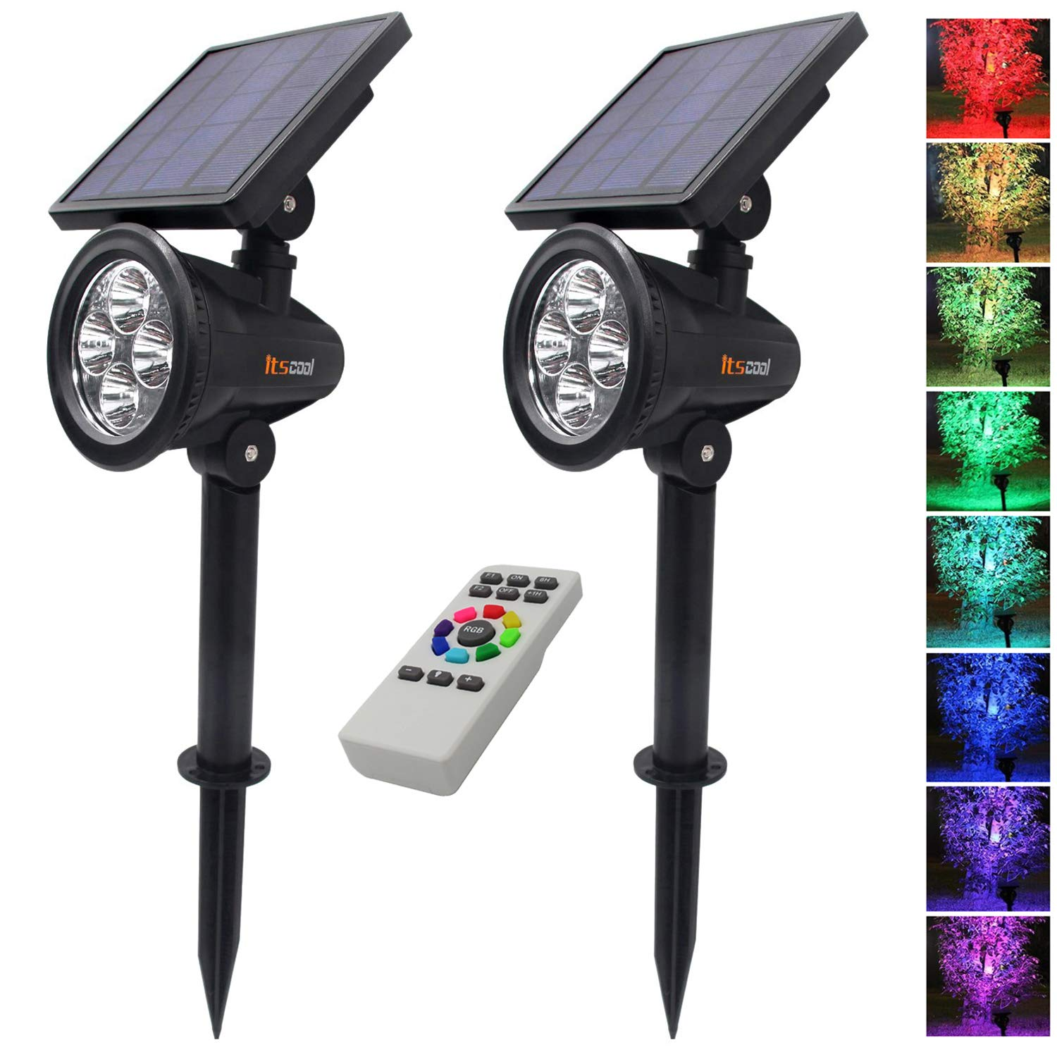 Itscool Solar Spotlight Outdoor Security Light, 9 Colors Auto-Shifting with Remote Control for Garden (Pack of 2)