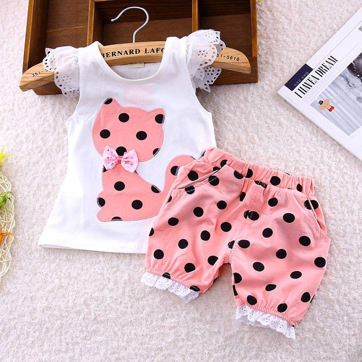 Infant Toddler Girls Ruffled Shirt with Pockets+Dots Print Shorts Cute Cat Clothes