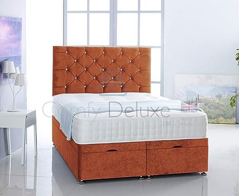 Super Plain Velvet Ottoman 3Ft 4Ft 4Ft6 5Ft 6Ft Side Lift Bed Base By Comfy Deluxe Ltd Orange 5Ft King Size Ibusinesslaw Wood Chair Design Ideas Ibusinesslaworg