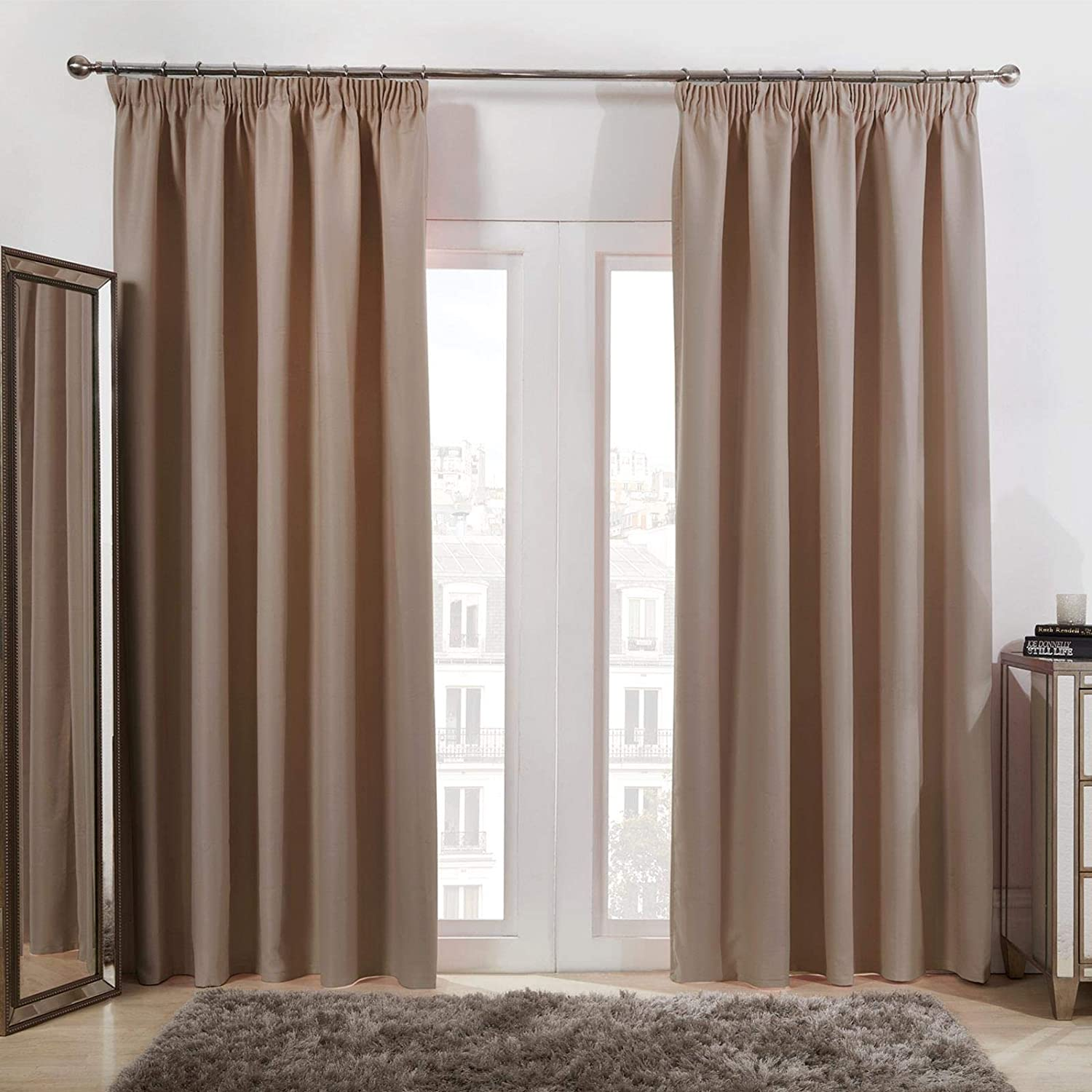 Thermal Pencil Pleat Blackout Tape Top Pair of Curtains Ready Made Free Tiebacks