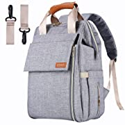 AISPARKY Diaper Bag Backpack Multi-Function Waterproof Travel Nappy Bag for Baby Care, Large Capacity, Durable and Stylish Changing Bag for Mom and Dad, Grey