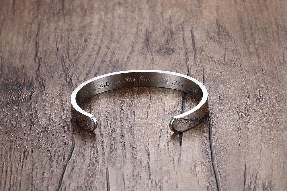 Vnox 4 Color Set She Believed She Could So She DidStainless Steel Inspirational Cuff Bangle Bracelet for Girl