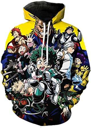 My Hero Academia All Might Warm Sweater Long Sleeve Pullover for Mens Black