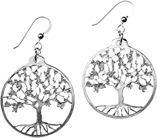 product image for Delicate Tree of Life Silver-dipped Earrings on French Hooks