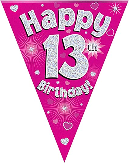 Happy 30th Birthday Holographic Triangular Party Foil Banner Bunting 30 Blue