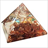Pyramide en Orgonite avec cristaux de Cornaline, générateur d'énergie Orgone, transformer l'énergie négative en énergie positive - 72mm x 72mm