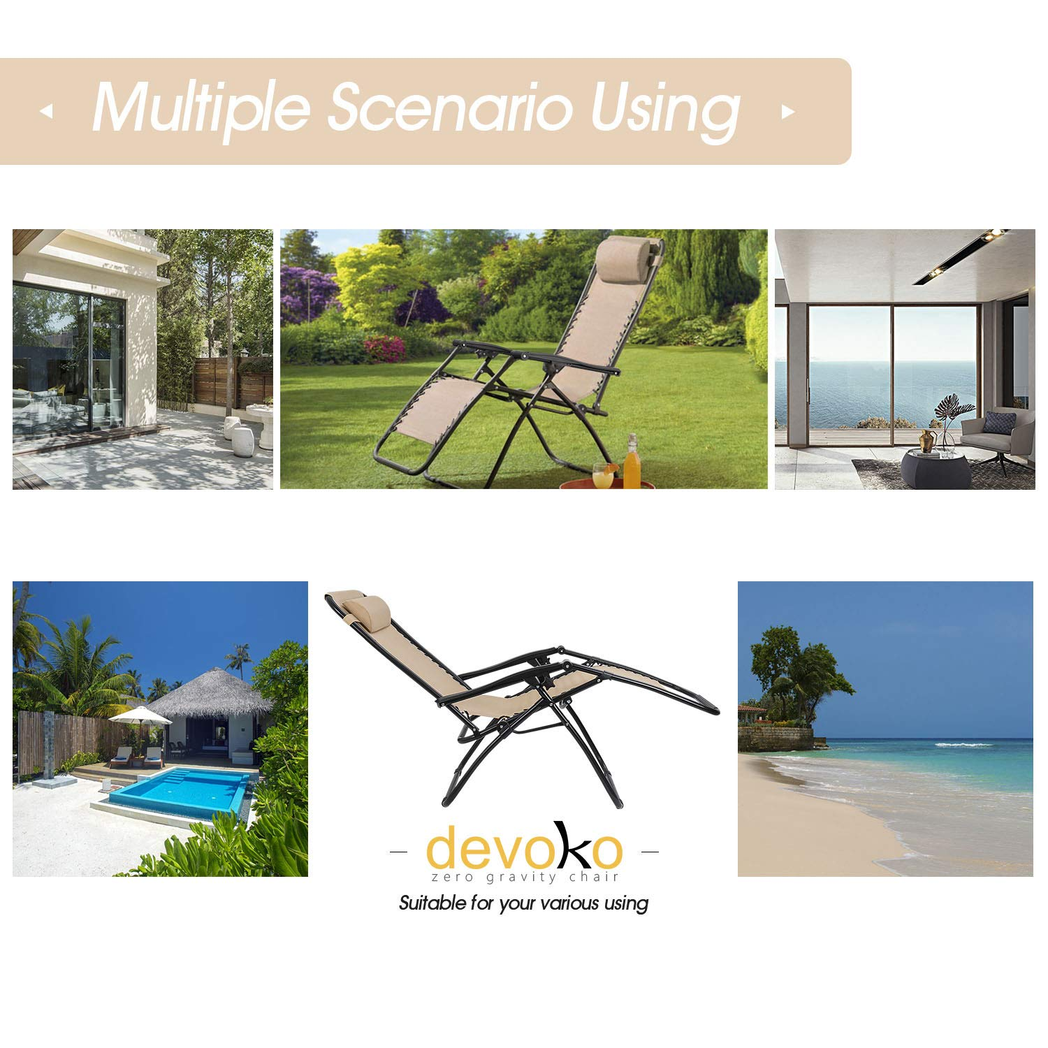Devoko Patio Zero Gravity Chair Outdoor Folding Adjustable Reclining Chairs Pool Side Using Lawn Lounge Chair with Pillow Set of 2 (Beige) by Devoko (Image #3)