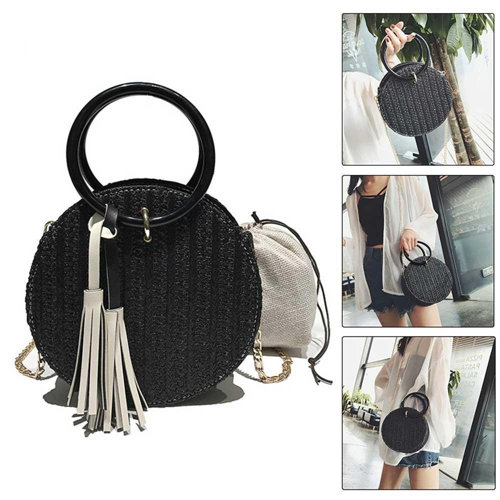 Pawaca Straw Hand-woven Handbags, Girls&Women Beach Shoulder Bag, Summer Crossbody Round Bag With Chain Straps (Black)