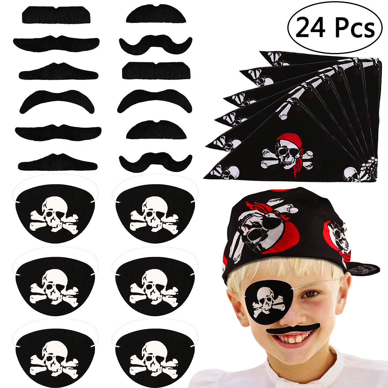 VAMEI 24 PCs Pirate Captain Eye Patches Pirate Bandana and Fake Mustaches for Children Kids Party Favors Costume Prop