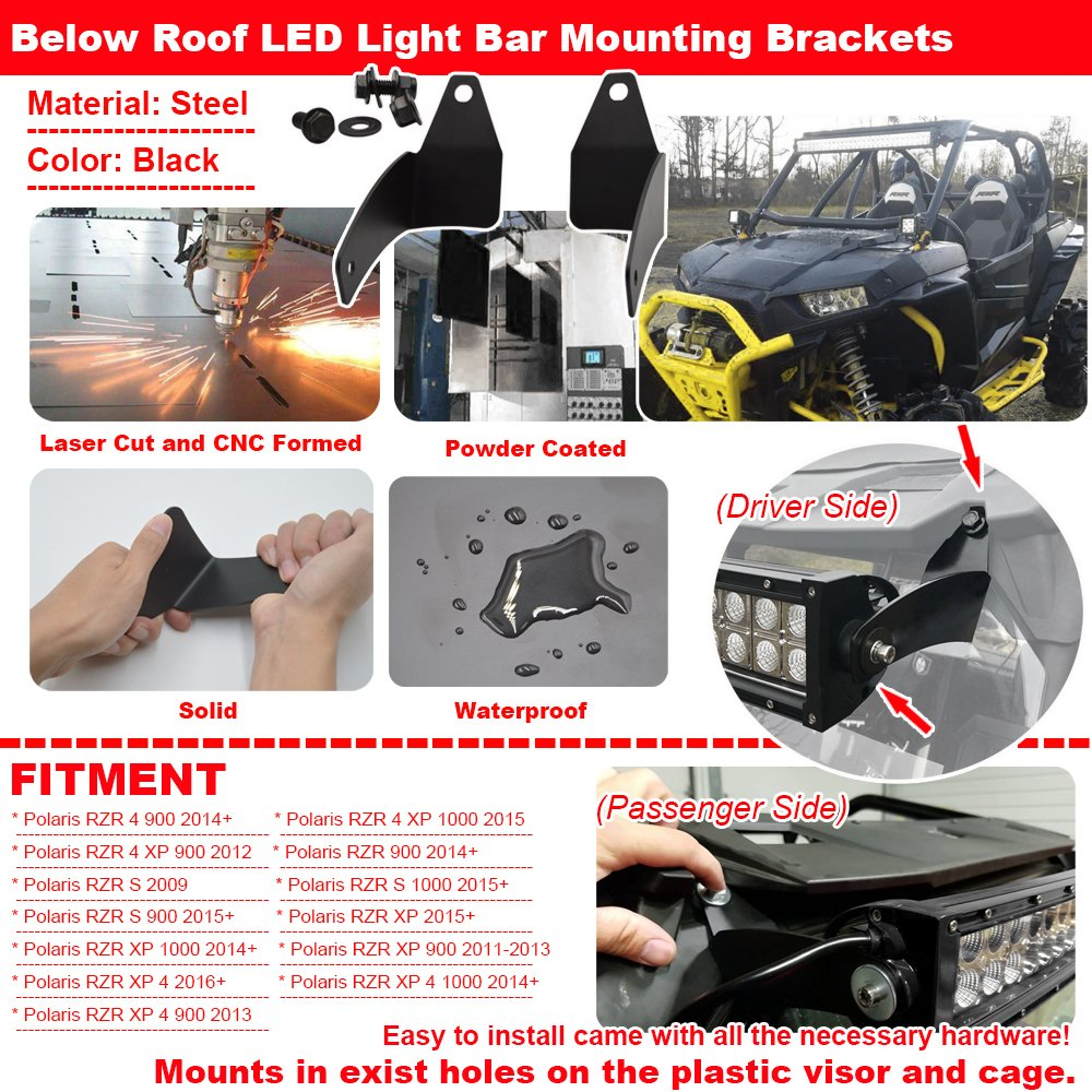 Amazon.com: 30 inch 180W Straight Off-road Combo LED Light Bar & Wiring Kit  w/Below Roof Mounting Brackets Fits POLARIS RZR XP 1000 900 Models:  Automotive