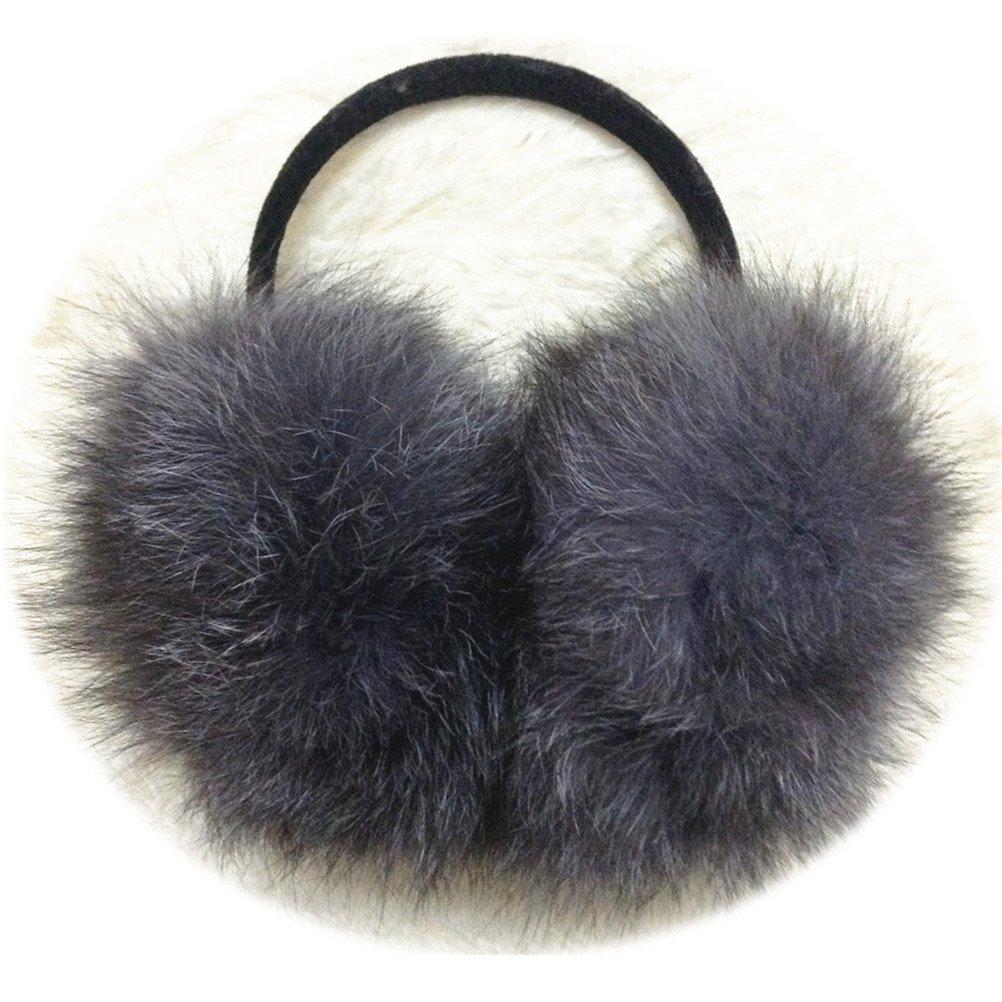 TRUE-FUR Genuine Fox Fur Earmuffs Furry Earflap (Grey)