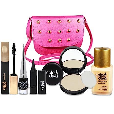 afd14a4b5fc7 Color Diva Girl's Plastic Makeup Combo Set with Sling Handbag - Pack of 6