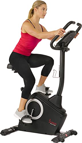 Sunny-Health-&-Fitness-Upright-Exercise-Bike-with-Electromagnetic-Resistance,-Device-Holder