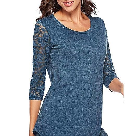 ZODOF Camisetas Mujer Primavera 3/4 Manga O Cuello Encaje Patchwork Camiseta Jersey Tops Blusa: Amazon.es: Ropa y accesorios