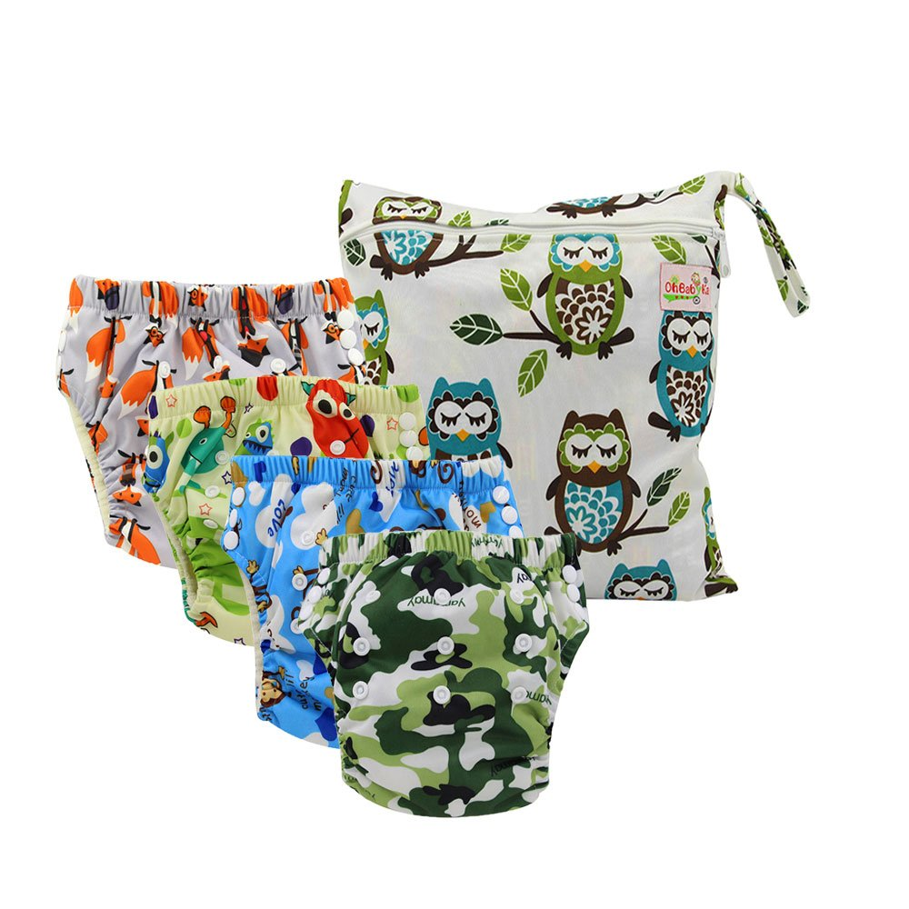 Ohbabyka Baby Cloth Training Pants,Baby Diapers Waterproof Pants 4PCS, 1pc Single Zipper Wet Bag by OHBABYKA