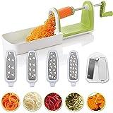 Twinzee Kompakter Gemüse Spiralschneider mit 5 Klingen und Saugnapf 5 Schnell auswechselbare Klingen – Benutzerfreundlicher Gemüseschneider zur Verarbeitung Ihres Gemüses und Obsts