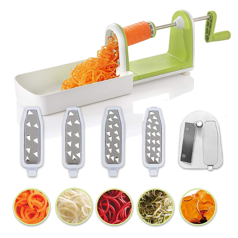 Cortador de verduras en espiral compacto Twinzee - 5 cuchillas fácilmente intercambiables - Espiralizador de verduras de fácil uso para cortar frutas y ...