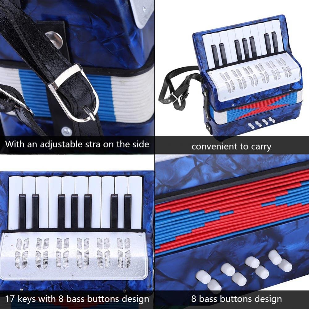 Children Accordion, Mini 17-Key 8 Bass Piano Accordion for Kids Children Amateur Beginner(Blue) by VGEBY (Image #4)