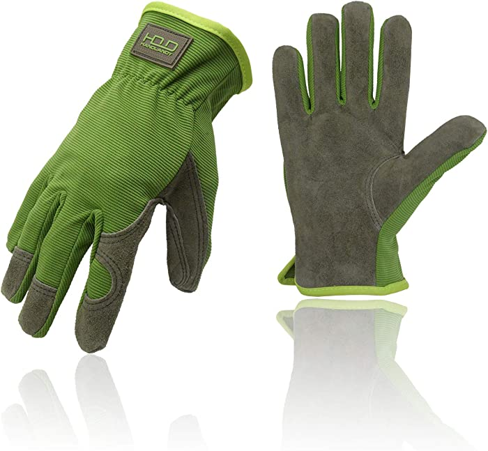 General Garden Work Safety Gloves with Cowhide Leather Palm,Dexterity Breathable (Medium)