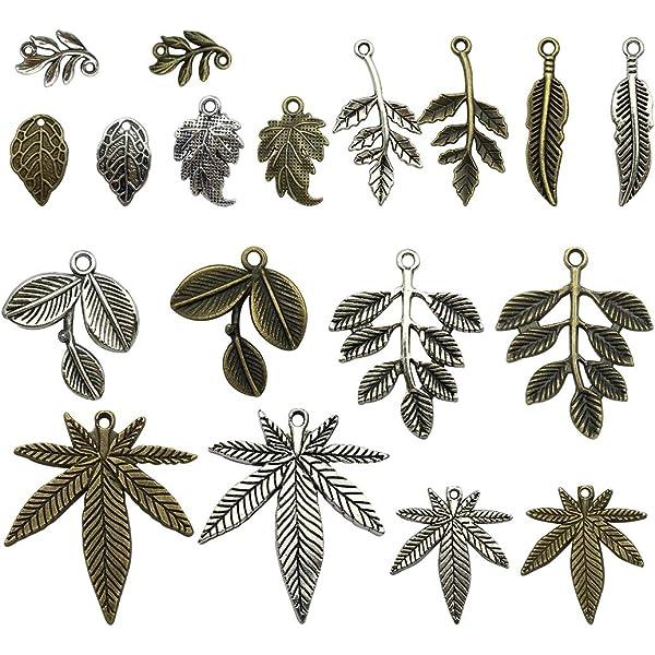 BULK 50 Leaf charms antique silver tone L12
