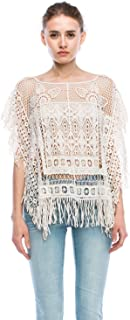 product image for Jubilee Couture Womens Elegant Flower Frame Crochet Lace Cape Poncho Off White