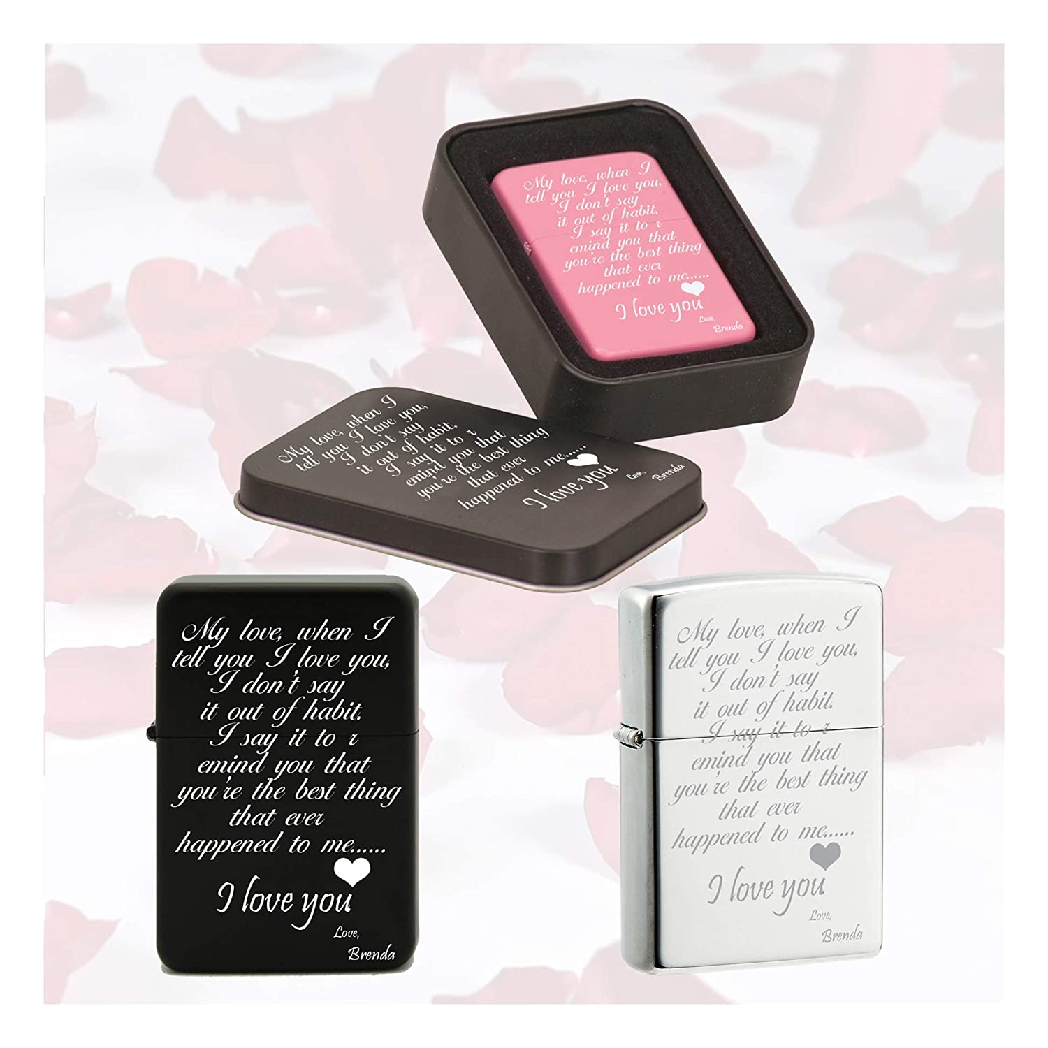 Personalized Customized love quotes Laser engraved Black and Silver Oil lighter w/case Free Engraving on The Box and Lighter