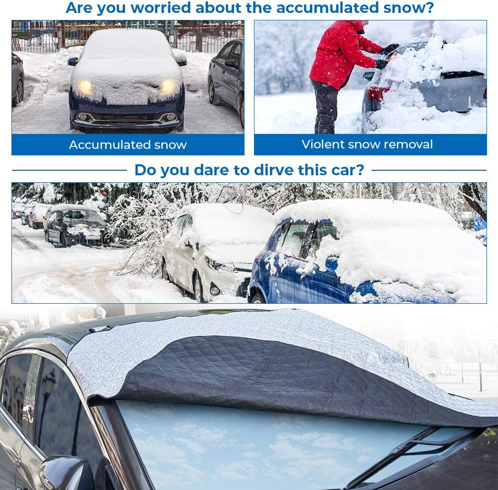 BougeRV Car Windshield Snow Cover for Tesla Model 3 Accessories Extra Large Front Window Ice Cover Sun Shade with Side Mirror Covers and Storage Bag Design fits Tesla Model 3 Most Sedan