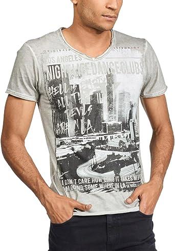 trueprodigy Casual Marca Camiseta para Hombre con impresión Estampada Ropa Retro Vintage Rock Vestir Moda Cuello v Manga Corta Slim fit Designer Fashion t-Shirt, Colores:Darkgrey, Tamaño:S: Amazon.es: Ropa y accesorios