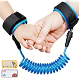Lictin Anti-Lost Wrist Flexible Child Walking Strap Adjustable Child Safety Strap Anti Lost Wrist Walking Hand Belt Walking Strap Lost WristLink Rotatable Connector 2 Embroidery Name Stickers(Blue)